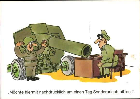 Künstler Ak Jankofsky, Heinz, Bitte um Sonderurlaub, Geschütz, DDR Soldaten, Humor