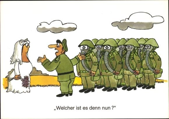 Künstler Ak Jankofsky, Heinz, Braut, DDR Soldaten, Gasmasken, Humor