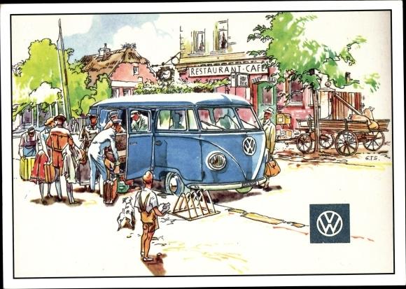 Künstler Ak VW Volkswagen Bulli T1, PARC Archiv Edition C 468