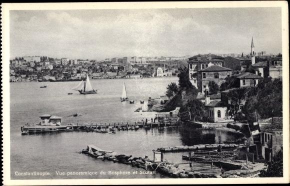 Ak Konstantinopel Istanbul Türkei, Vue panoramique du Bosphore et Scutari