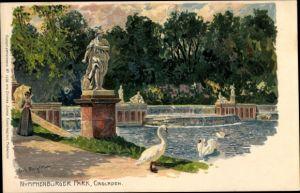 Künstler Litho Bergen, Fritz, München Bayern, Nymphenburger Park, Cascaden, Statue, Schwäne, Frau