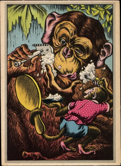 Künstler Ak Schimpanse rasiert sich, Handspiegel