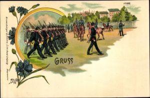 Litho Gruß, Soldaten beim Exerzieren, Bruno Bürger 802, Kornblumen