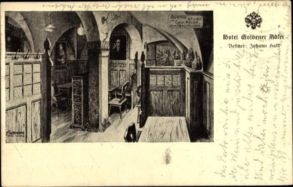 Künstler Ak Innsbruck in Tirol, Hotel Goldener Adler, Bes. Johann Hakl