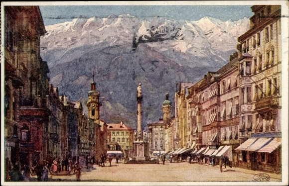 Künstler Ak Innsbruck in Tirol, Annasäule, Maria Theresienstraße