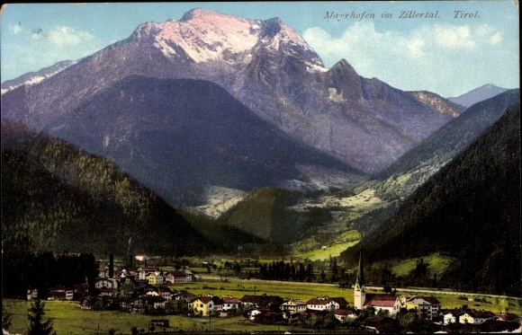 Ak Mayrhofen in Tirol, Ort, Zilleral, Gebirge, Purger 10762, Photochromie