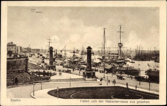 Ak Szczecin Stettin Pommern, Hafen v. d. Hakenterrasse aus gesehen
