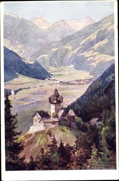 Künstler Ak Scheiring, Leopold, Obervellach in Kärnten, Panorama vom Ort, Schloss Falkenstein, Berge