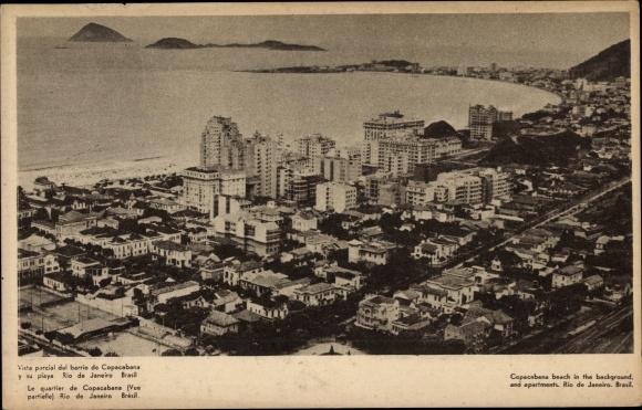 Ak Rio de Janeiro Brasilien, Copacabana m. Panorama vom Ort