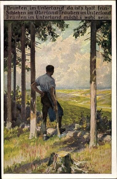 Künstler Ak Hey, Paul, Volksliederkarte Nr. 60, Drunten im Unterland, Holzhacker