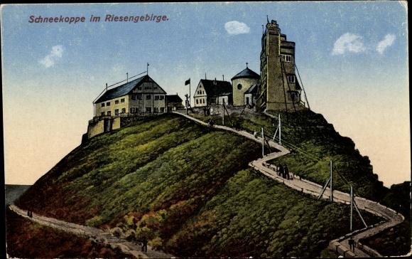 Ak Malá Úpa Kleinaupa Reg. Königgrätz, Schneekoppe, Wetterstation, Zieher R 378