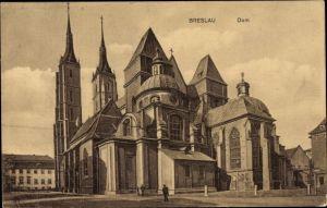 Ak Wrocław Breslau Schlesien, Blick auf den Dom