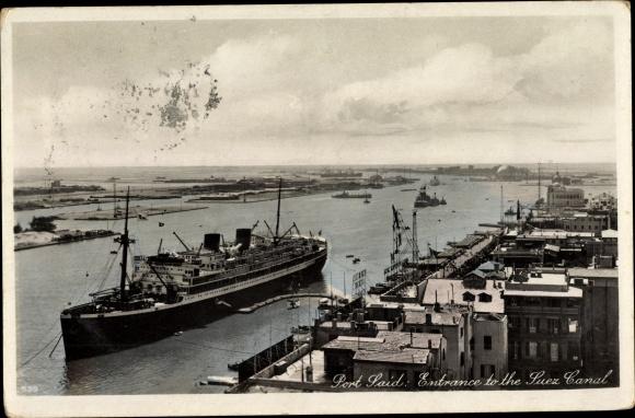 Ak Port Said Ägypten, Entrance to the Suez Canal, Steamer