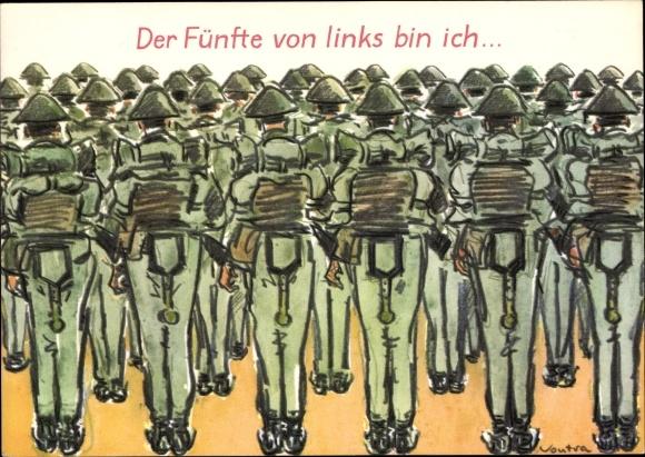 Künstler Ak Vontra, Gerhard, Der Fünfte von links bin ich, DDR Soldaten, Appell, Marschgepäck, Humor
