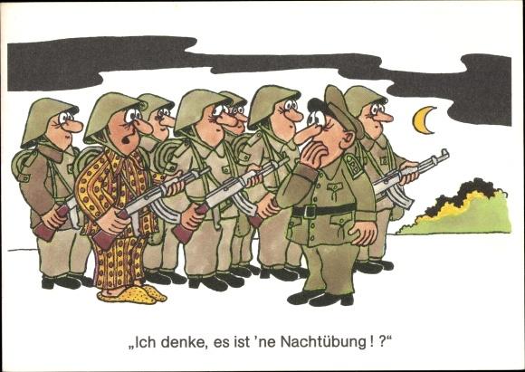 Künstler Ak Jankofsky, Heinz, DDR Soldaten, Nachtübung, Pyjama