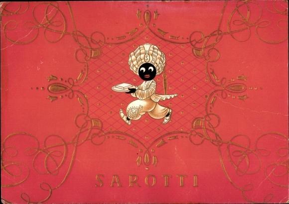 Ak Sarotti Werbung, Mohr m. Schokoladentafel auf Tablett, Ornamente