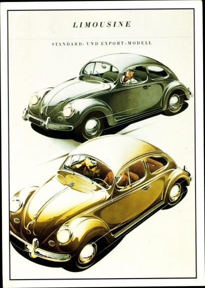 Künstler Ak VW Volkswagen Käfer Beetle, Standard u. Exportmodell, PARC Archiv Edition C 179