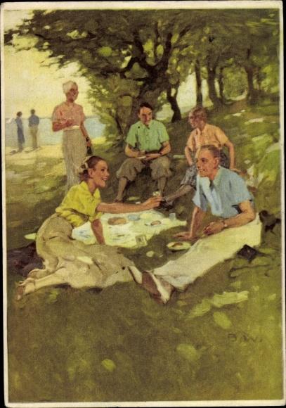 Künstler Ak Picknick im Park, Anstoßen, Männer u. Frauen, Indanthren Werbung