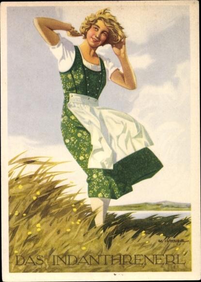 Künstler Ak Iüttner, W., Das Indanthrenerl, Frau in Dirndlkleid, Indanthren Werbung, Blumenwiese