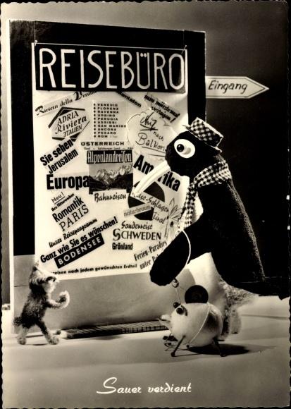 Ak Pinguin, Puppe, Sparschwein, Teddy, Reisebüro