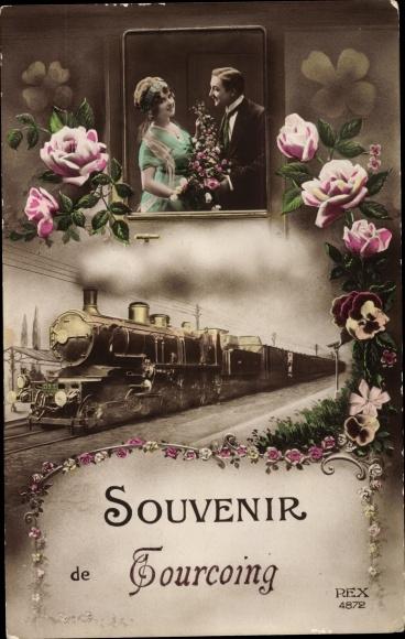 Ak Tourcoing Nord, Dampflokomotive 3 612, Paar mit Blumen