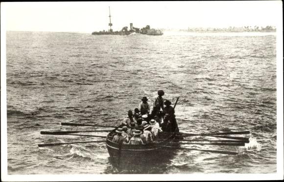 Foto Ak Tenderboot, Beiboot, Passagiere, Schiff