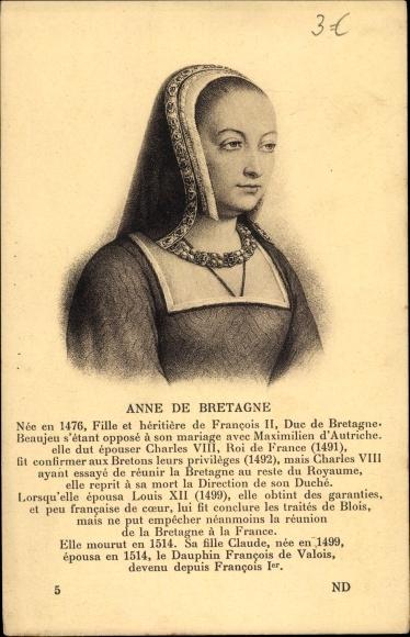 Künstler Ak Anne de Bretagne, Königin von Frankreich