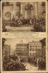 Künstler Ak Bruxelles Brüssel, Entrée de Léopold I., 21.7.1831, Leópold II., 17.12.1865