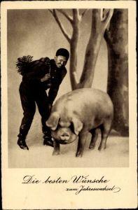 Ak Glückwunsch Neujahr, Schornsteinfeger, Schwein
