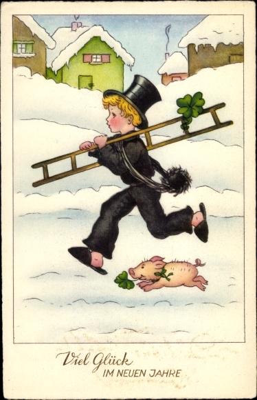 Ak Glückwunsch Neujahr, Schornsteinfeger, Schwein, Kleeblätter, EAS M 2574