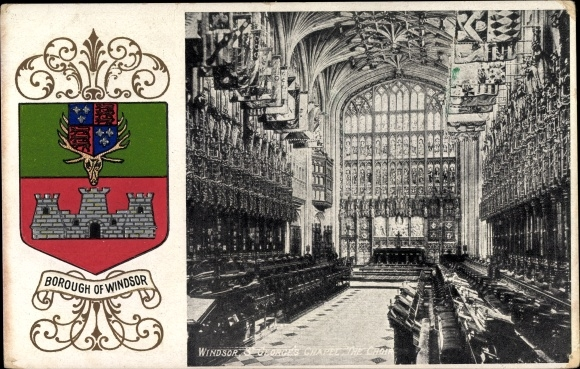 Präge Wappen Ak Windsor England, St George's Chapel, Choir, Castle