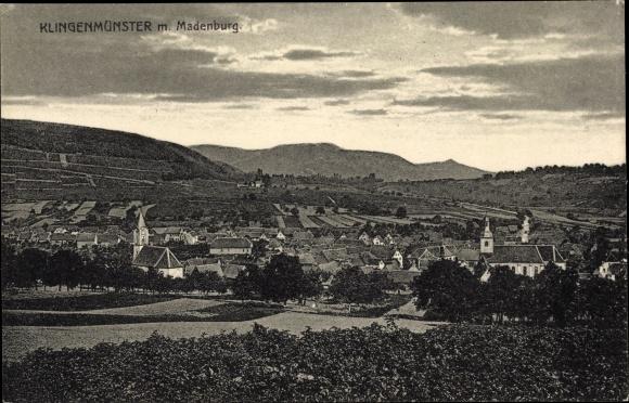 Ak Klingenmünster Rheinland Pfalz, Ortschaft mit Landschaftsblick