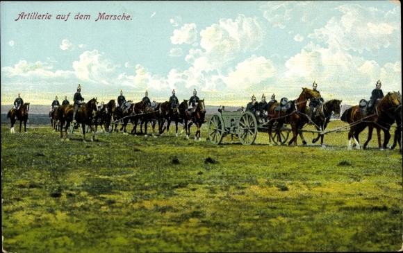 Ak Artillerie auf dem Marsche, Soldaten, Pferde