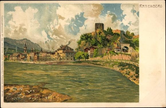 Litho Rattenberg in Tirol, Wasserpartie, Burg