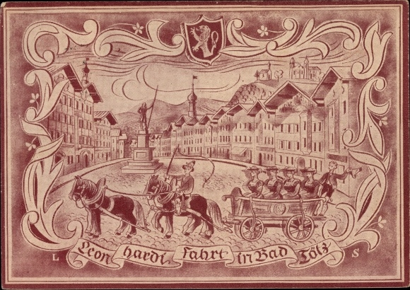 Künstler Ak Schleifer, L., Bad Tölz im Isartal Oberbayern, Leonhardifahrt, Wappen