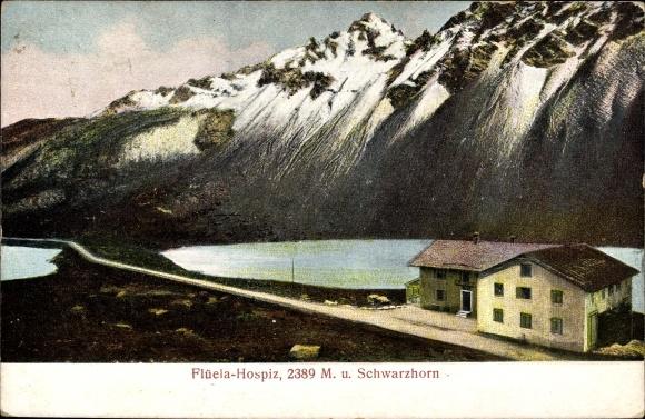 Relief Ak Kt. Graubünden Schweiz, Flüelapass, Schwarzhorn, Hospiz, Bes. H. Zwanziger