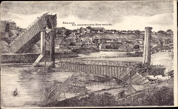 Künstler Ak Hrodna Grodno Weißrussland, Die zersprengte Bahnbrücke, I. WK