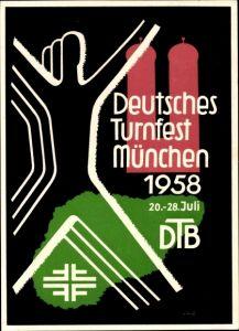Ak München Bayern, Deutsches Turnfest 1958, DTB, Turnerkreuz, Frauenkirche