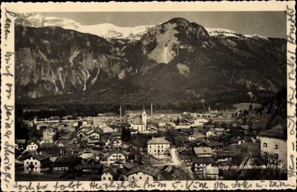 Ak Brixlegg in Tirol, Unterinntal, Ort, Berge, Kirche