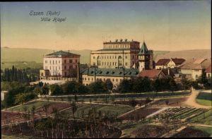 Ak Essen im Ruhrgebiet, Villa Hügel, Außenansicht, Felder, Bäume