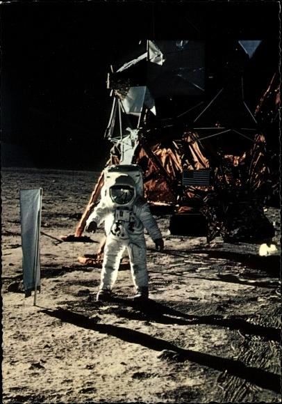 Ak US Astronaut Edwin Aldrin, Mondlandung 21. Juli 1969, Sonnensegel, Landefähre Eagle