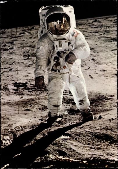 Ak US Astronaut Edwin Aldrin, Mondlandung 21. Juli 1969, Erste Gehversuche, Landefähre Eagle