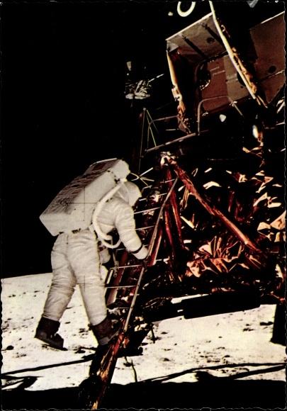 Ak US Astronaut Edwin Aldrin, Mondlandung 21. Juli 1969, Erster Schritt, Neil Armstrong