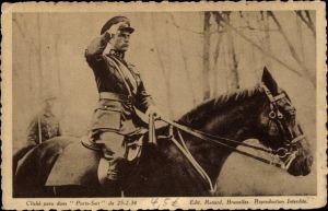 Ak König Leopold III. von Belgien, Uniform, Pferd