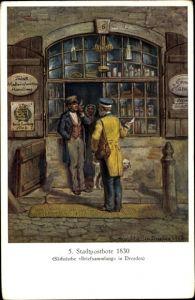 Künstler Ak Müller, Gustav, Stadtpostbote um 1830, Sächsische Briefsammlung in Dresden