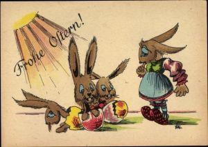 Künstler Ak Glückwunsch Ostern, Osterhasen schlüpfen aus Eiern