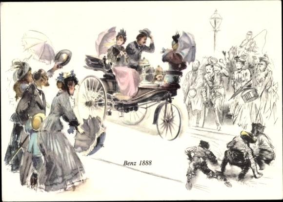 Künstler Ak Benz 1888, Damen und Herr im Dreiradfahrzeug, Straßenszene, Mercedes