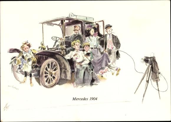 Künstler Ak Mercedes 1904, Familie vor ihrem Automobil, Fotoapparat