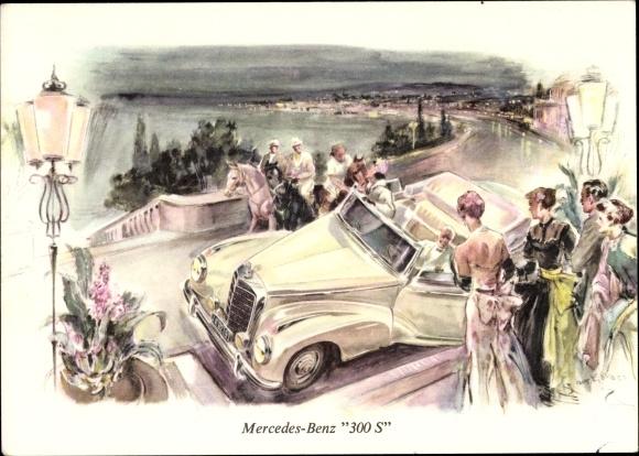 Künstler Ak Mercedes Benz 300 S, Cabriolet, Automobil, Abendgesellschaft
