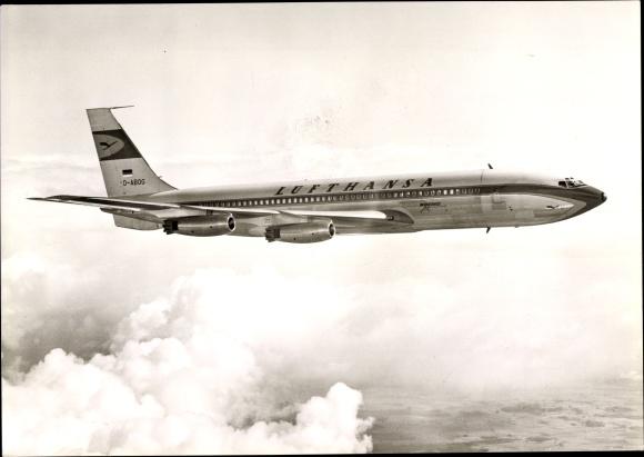 Ak Deutsches Passagierflugzeug der Lufthansa, Boeing 707 Jet Intercontinental, D-ABOG